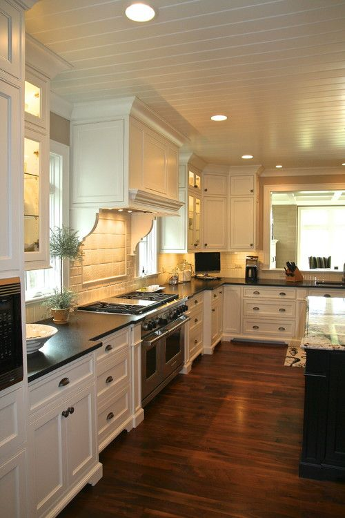 White Kitchen With Dark Wood Floor Designs From Hgsphere